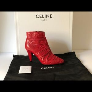 CELINE TRIANGLE RUCHED RED LEATHER ANKLE BOOTS